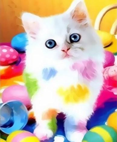 Картина по номерам 20x30 Белый котёнок и краски
